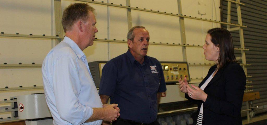 Federal Member for Forde Bert van Mannen visits True Blue Glass